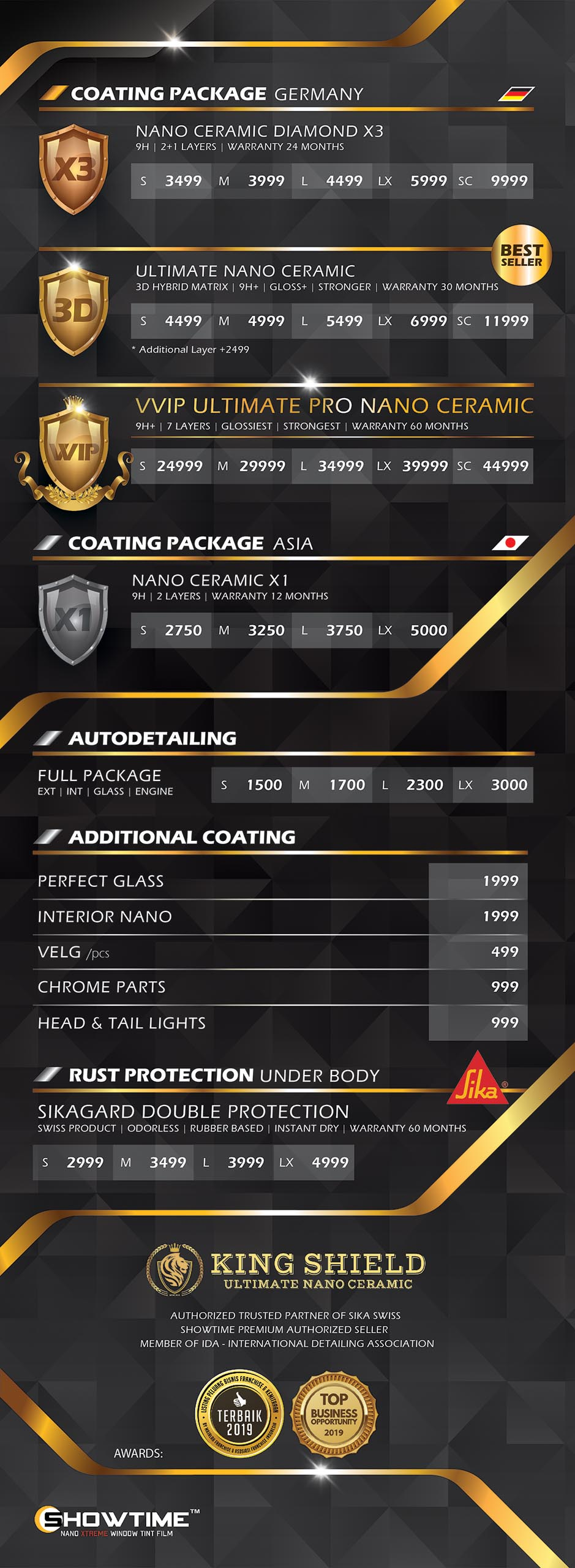 Price list King Shield website